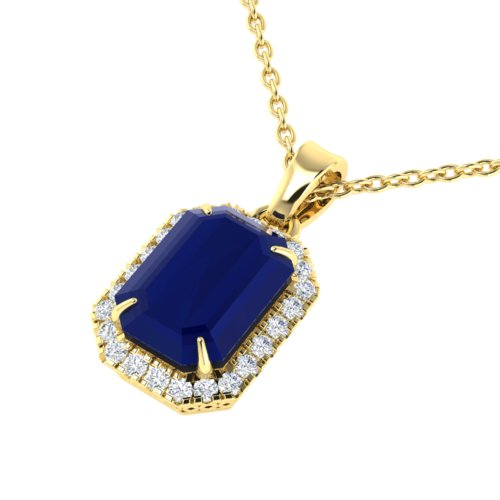 5.50 CTW SAPPHIRE & MICRO PAVE VS/SI DIAMOND HALO NECKLACE 18K