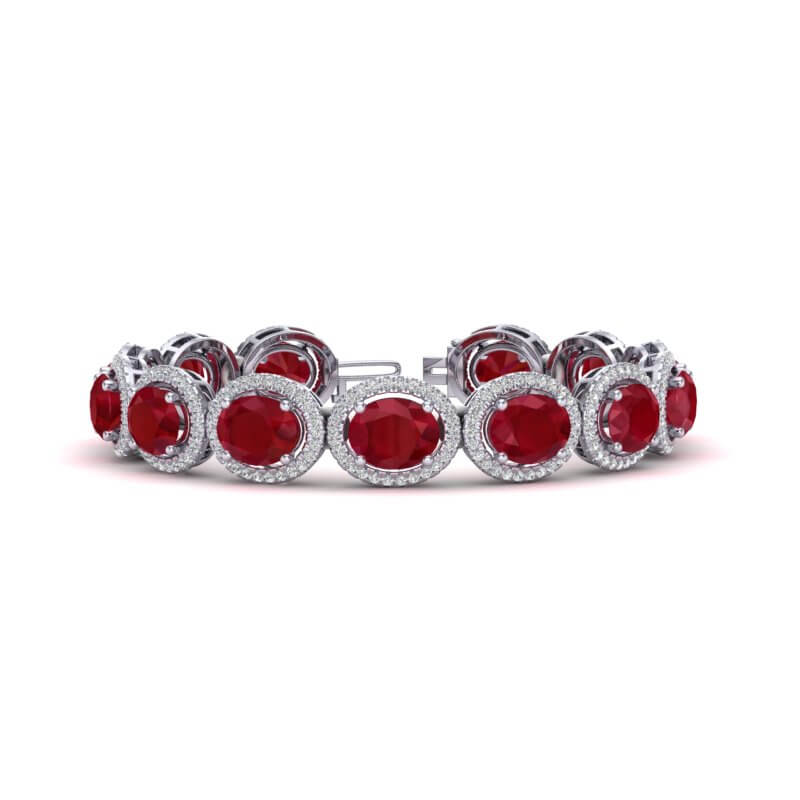 30 CTW RUBY & MICRO PAVE VS/SI DIAMOND CERTIFIED BRACELET