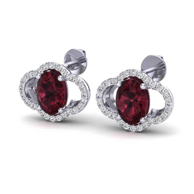 4 CTW GARNET & MICRO PAVE VS/SI DIAMOND CERTIFIED EARRING