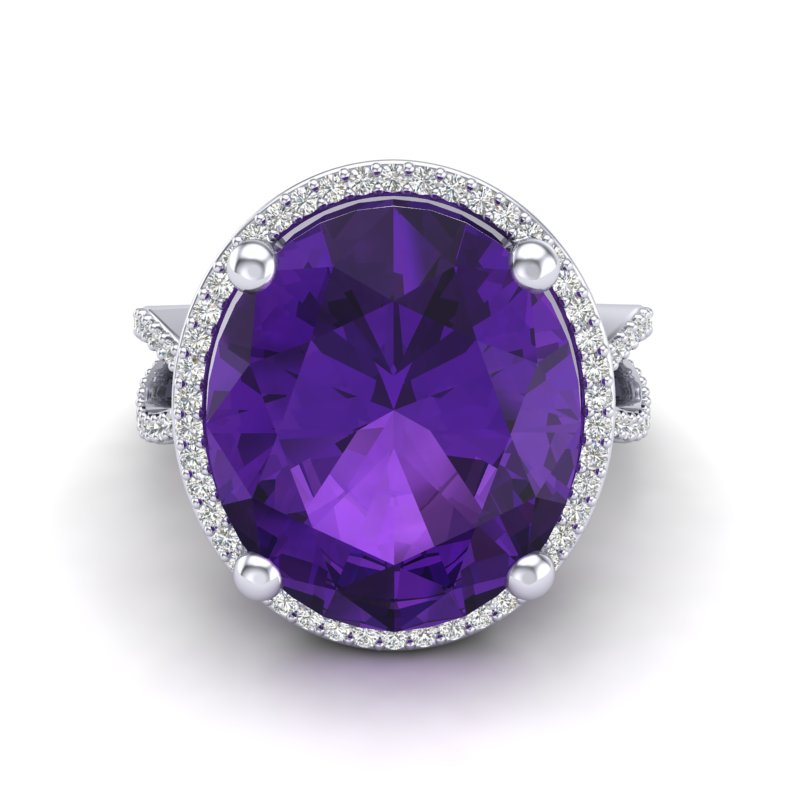 10 CTW AMETHYST & MICRO PAVE VS/SI DIAMOND CERTIFIED HALO RING 18K