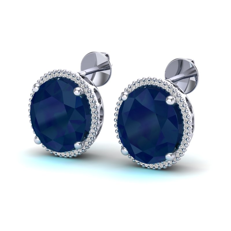 25 CTW SAPPHIRE & MICRO PAVE VS/SI DIAMOND CERTIFIED HALO EARRING 18K