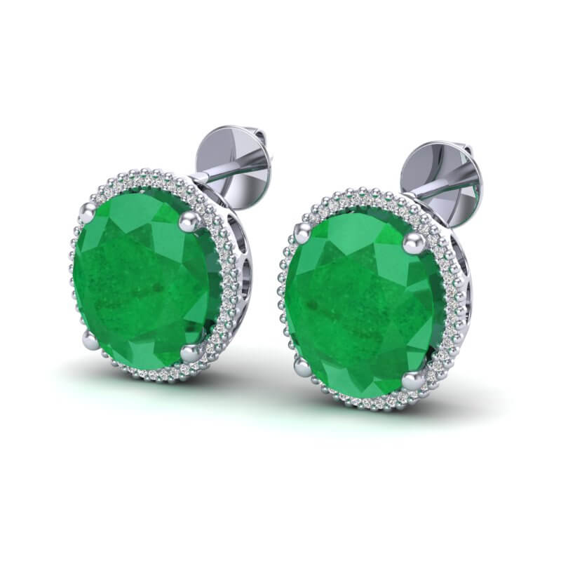 25 CTW EMERALD & MICRO PAVE VS/SI DIAMOND CERTIFIED HALO EARRING 18K