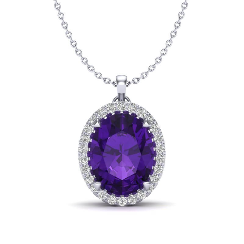 2.75 CTW AMETHYST & MICRO VS/SI DIAMOND HALO SOLITAIRE NECKLACE 18K