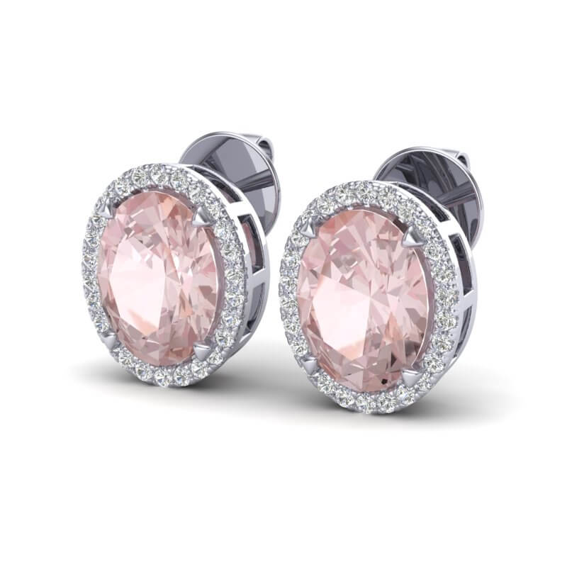 5.50 CTW MORGANITE & MICRO VS/SI DIAMOND HALO EARBRIDAL RING 18K