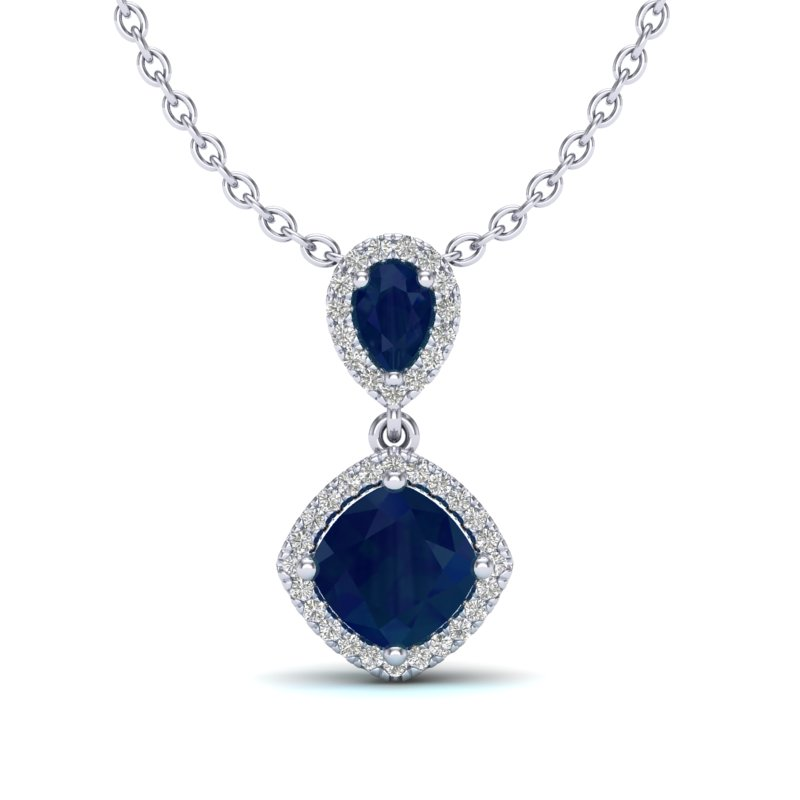 3.50 CTW SAPPHIRE & MICRO VS/SI DIAMOND NECKLACE DESIGNER HALO