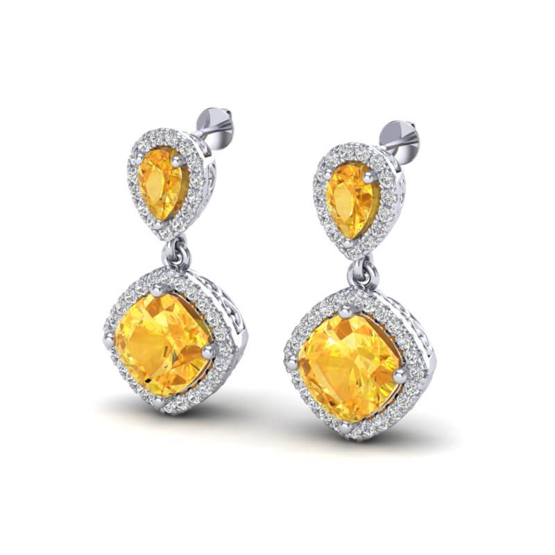 5 CTW CITRINE & MICRO  PAVE VS/SI DIAMOND EARRING DESIGNER HALO