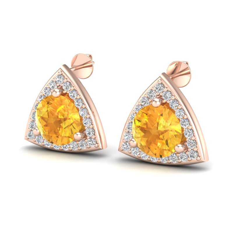3 CTW CITRINE & MICRO PAVE HALO VS/SI DIAMOND STUD EARRING 14K
