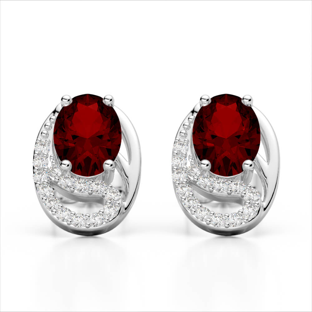 2.50  GARNET & MICRO PAVE VS/SI DIAMOND CERTIFIED STUD EARRING