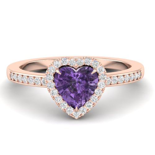 1 CTW AMETHYST & MICRO PAVE RING HEART HALO 14K