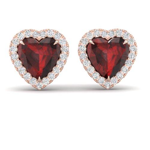 2.22 CTW GARNET & MICRO PAVE VS/SI DIAMOND EARRING HEART HALO 14K