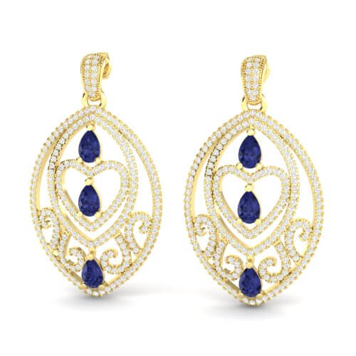 7 CTW TANZANITE & MICRO PAVE VS/SI DIAMOND HEART EARRING 18K