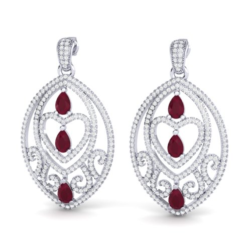 7 CTW RUBY & MICRO PAVE VS/SI DIAMOND HEART EARRING DESIGNER 18K