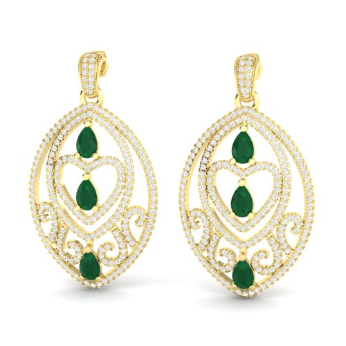 7 CTW EMERALD & MICRO PAVE VS/SI DIAMOND HEART EARRING 18K