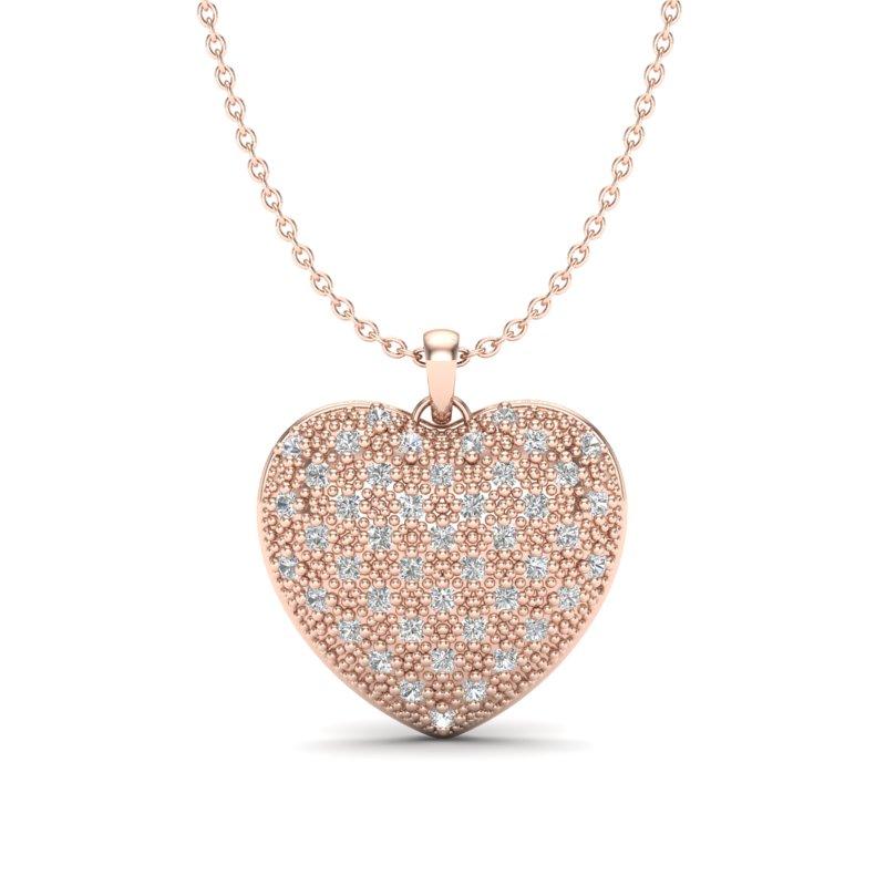 1.0 DESIGNER CTW MICRO PAVE VS/SI DIAMOND HEART NECKLACE 14K