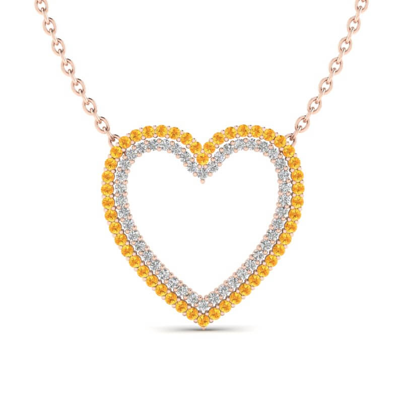 2.50 CTW YELLOW SAPPHIRE & VS/SI DIAMOND HEART HALO NECKLACE
