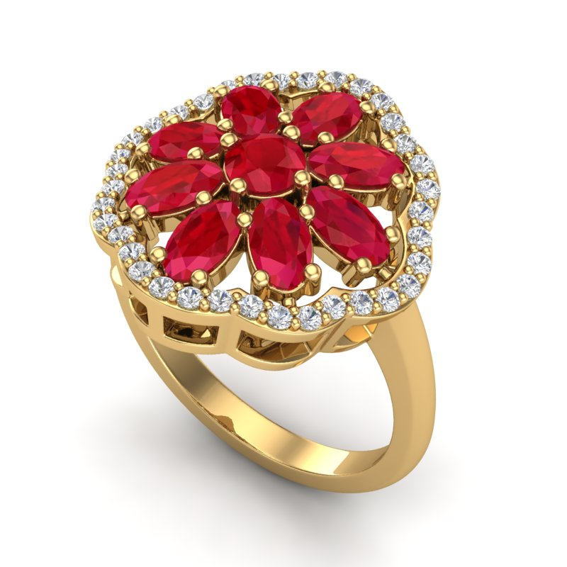 4 CTW RUBY & VS/SI DIAMOND CERTIFIED CLUSTER DESIGNER HALO RING