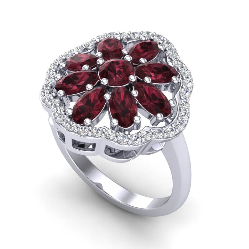 3 CTW GARNET & VS/SI DIAMOND CERTIFIED CLUSTER DESIGNER HALO RING