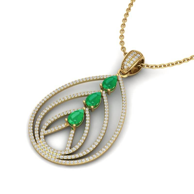 2 CTW EMERALD & MICRO PAVE VS/SI DIAMOND DESIGNER NECKLACE 18K