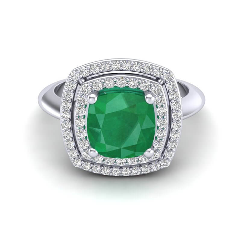 2.52 CTW EMERALD & MICRO VS/SI DIAMOND CERTIFIED PAVE HALO RING 18K