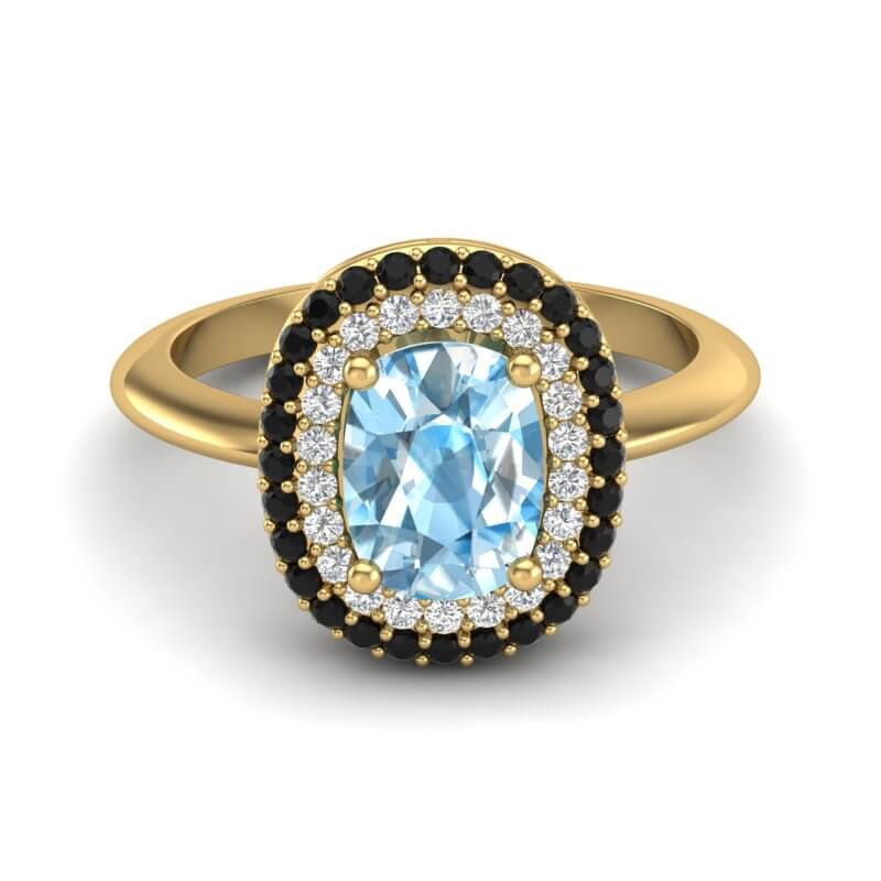 2.50 CTW SKY BLUE TOPAZ WITH BLACK & MICRO VS/SI DIAMOND RING HALO
