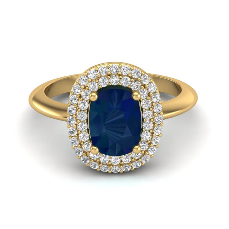 2.50 CTW SAPPHIRE WITH MICRO VS/SI DIAMOND RING HALO 14K