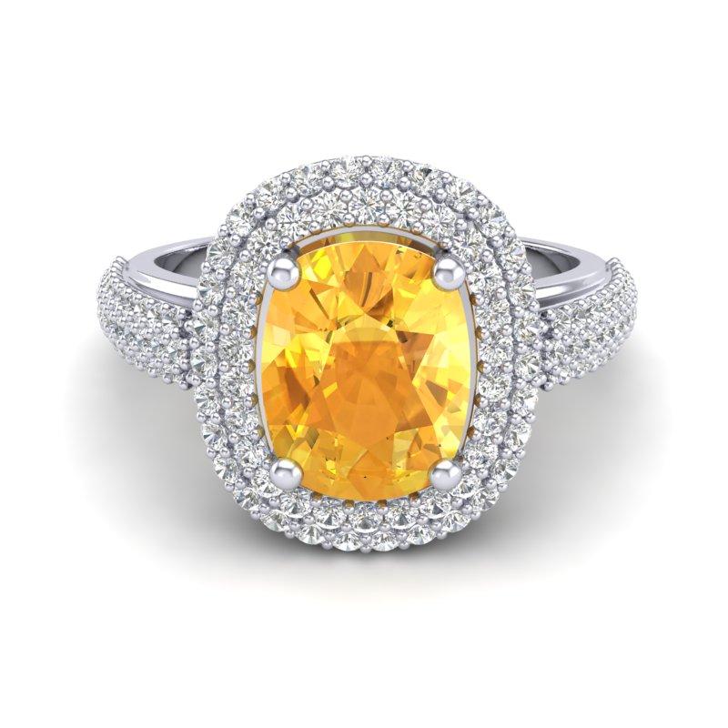 3.50 CTW CITRINE & MICRO PAVE VS/SI DIAMOND CERTIFIED HALO RING 14K