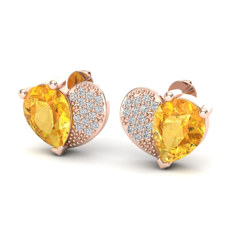 2.50 CTW CITRINE & MICRO PAVE VS/SI DIAMOND CERTIFIED  EARRING