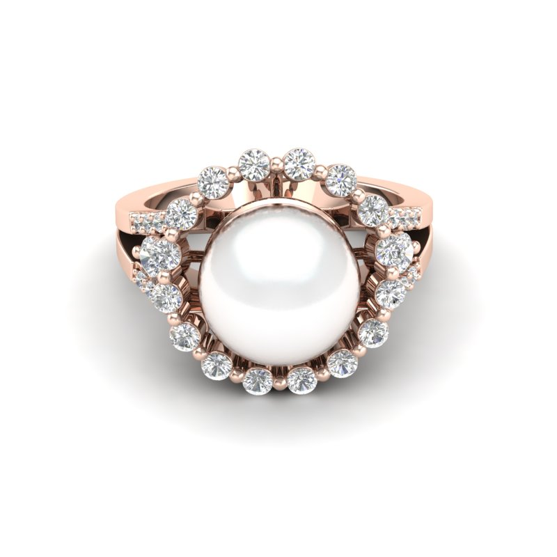 .83 CT MICRO PAVE VS/SI DIAMOND CERTIFIED & WHITE PEARL HALO RING 14K