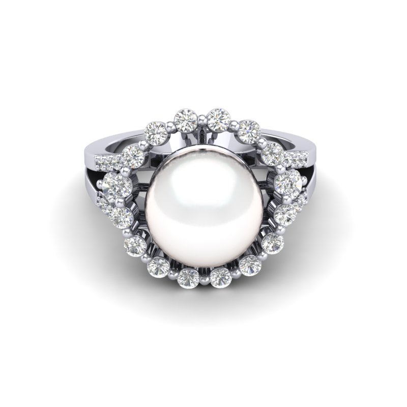 .83 CT MICRO PAVE VS/SI DIAMOND CERTIFIED & WHITE PEARL HALO RING 18K
