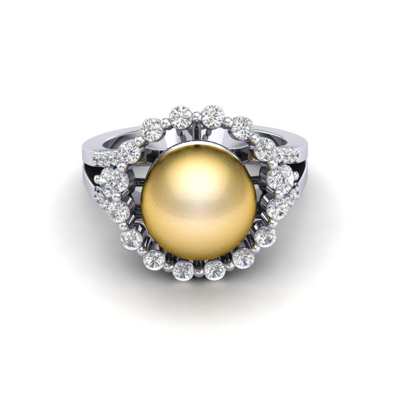 .83 CT MICRO PAVE VS/SI DIAMOND CERTIFIEDEN PEARL HALO RING 18K