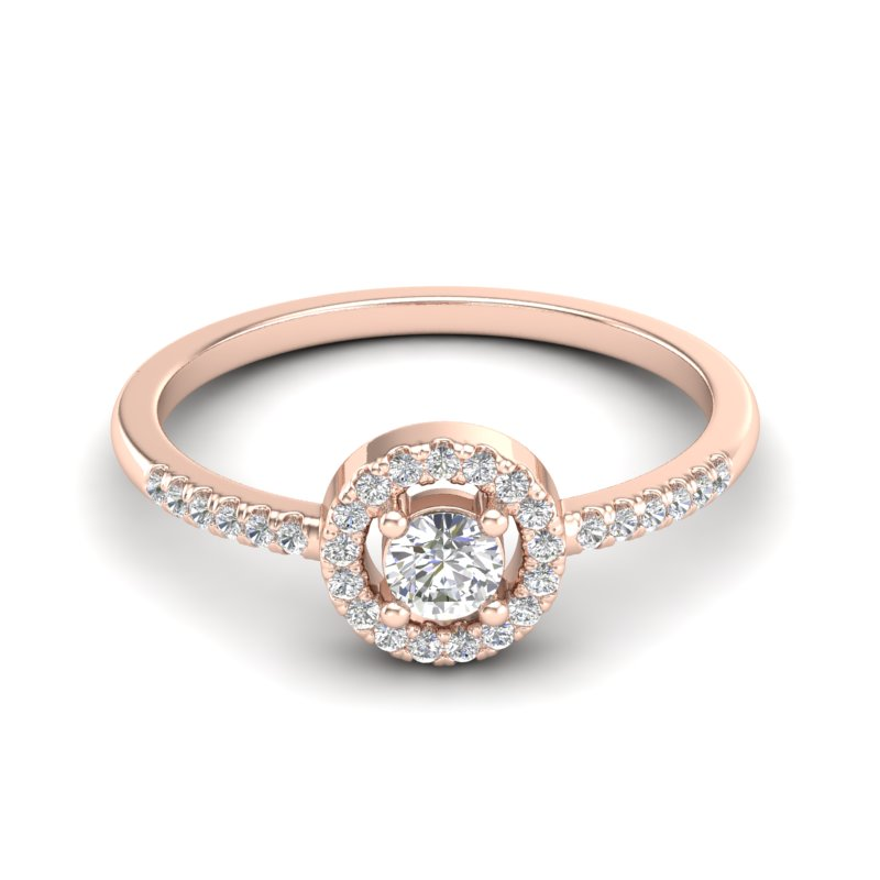 .40 CTW MICRO PAVE VS/SI DIAMOND CERTIFIED  RING SOLITAIRE HALO 14K