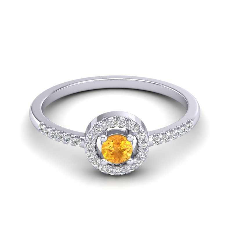 .50 CTW CITRINE & MICRO PAVE VS/SI DIAMOND RING SOLITAIRE HALO 18K
