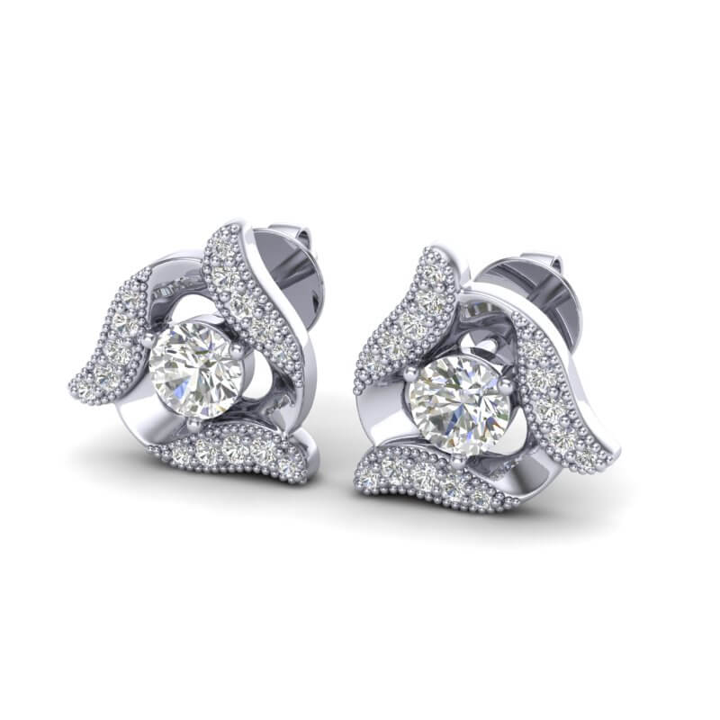 .76 CTW MICRO PAVE VS/SI DIAMOND CERTIFIED HALO EARRING 18K