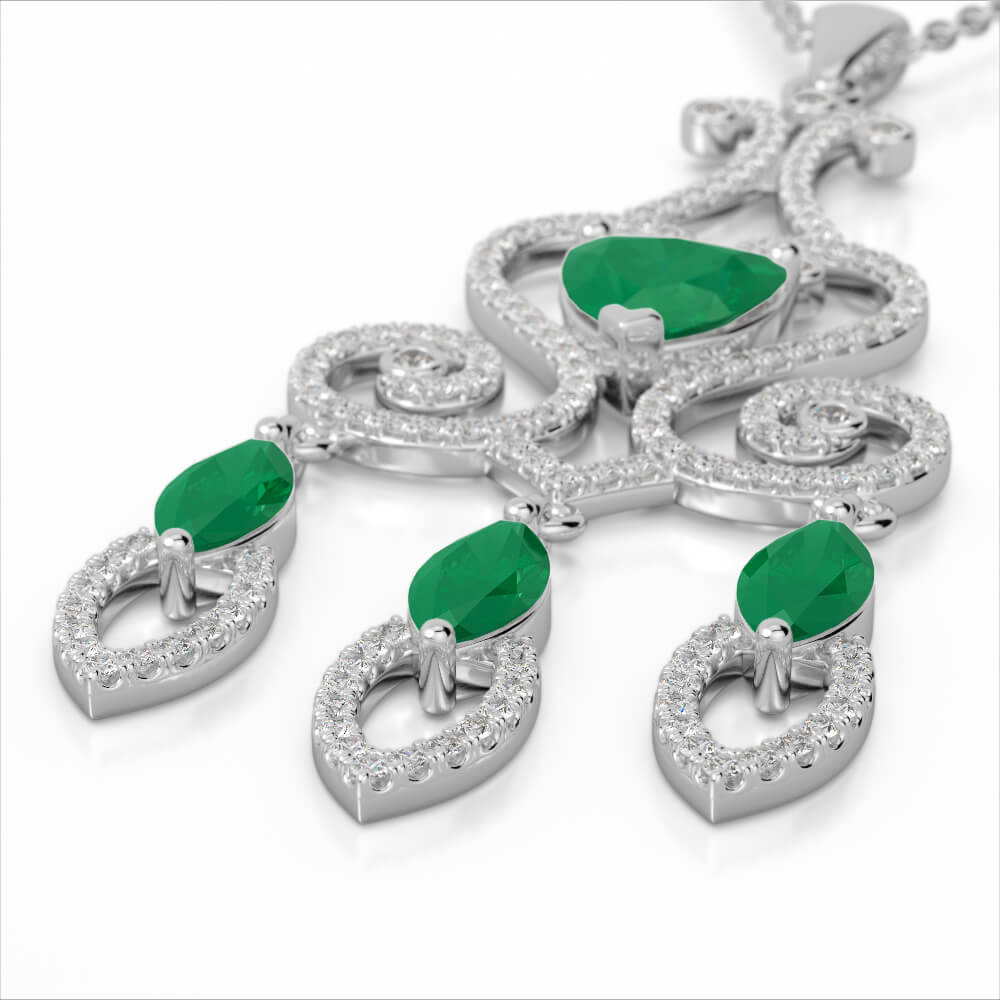 5.50 CTW EMERALD & MICRO PAVE VS/SI DIAMOND HEART NECKLACE 14K