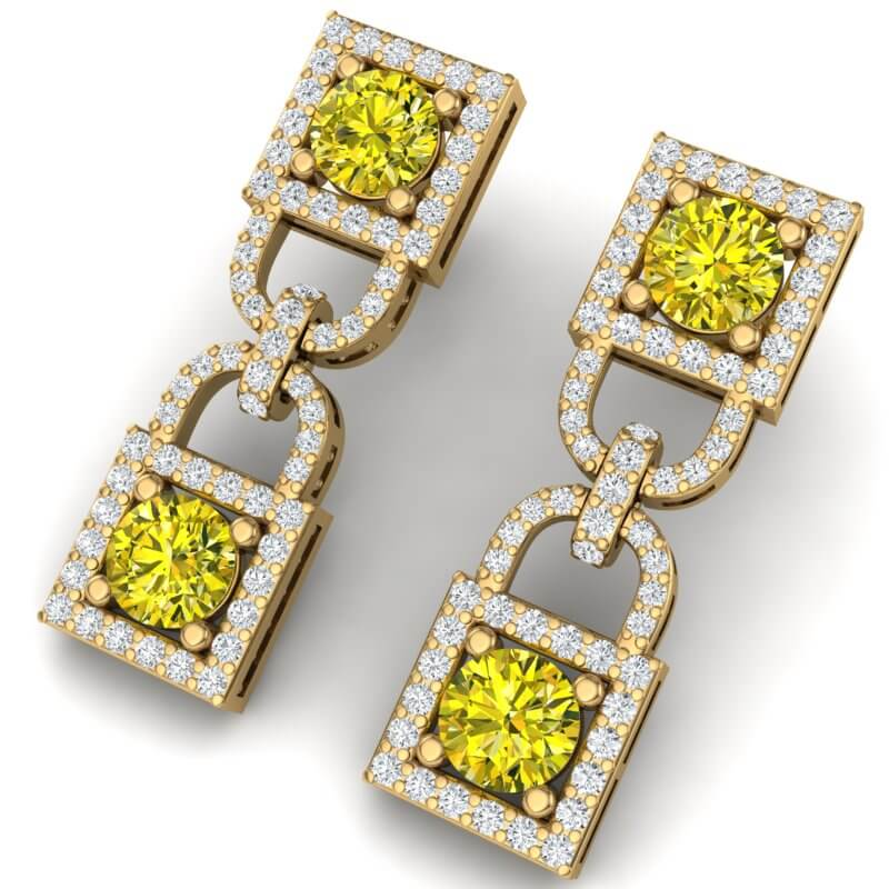 4 CTW SI/I FANCY YELLOW AND WHITE DIAMOND EARRING 18K YELLOW GOLD
