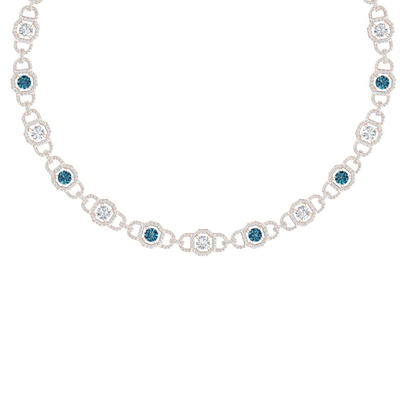 25 CTW SI/I FANCY BLUE AND WHITE DIAMOND NECKLACE 18K ROSE GOLD