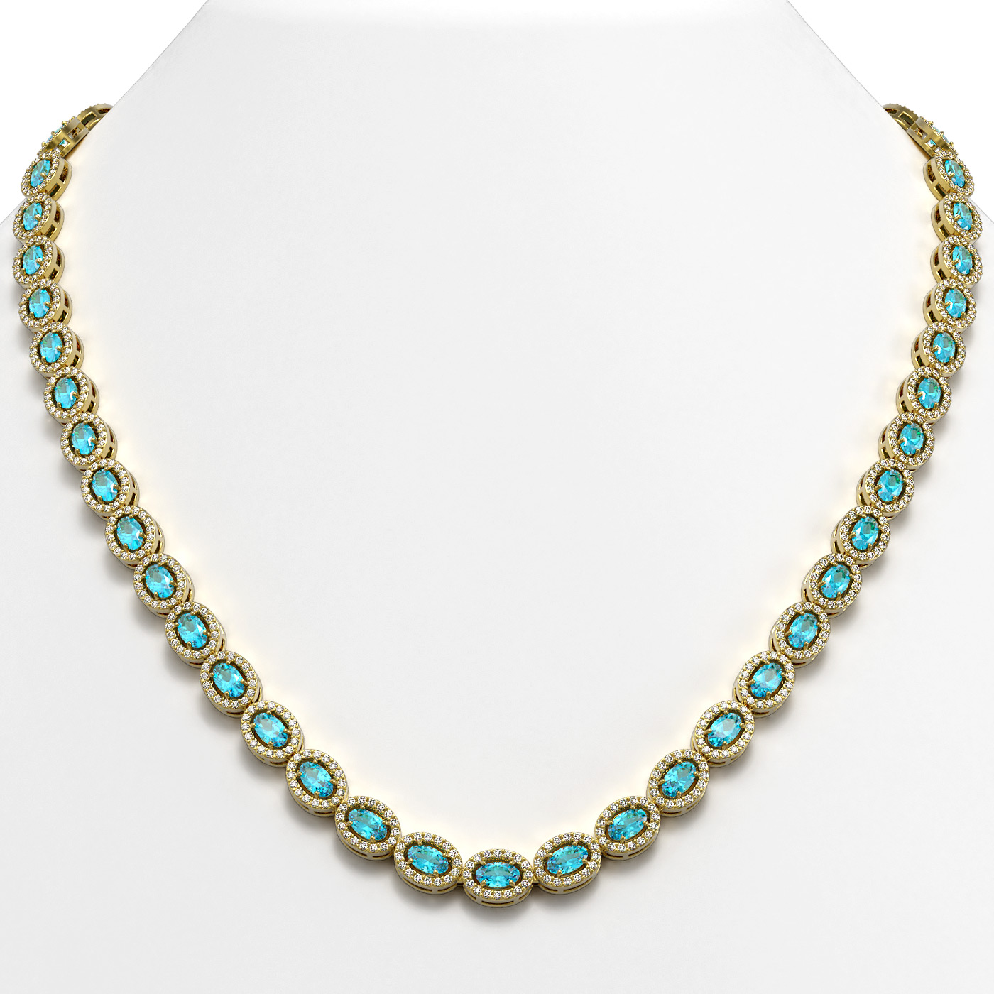 24.07 Ctw Swiss Topaz & Diamond Necklace Yellow Gold