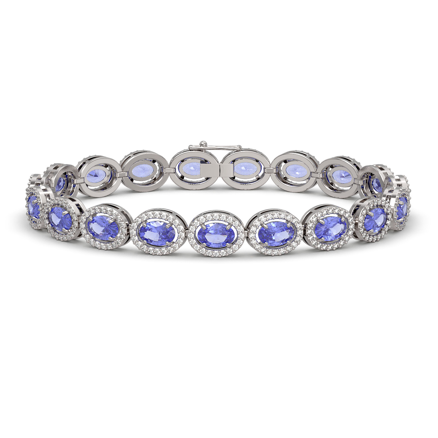 14.25 Ctw Tanzanite & Diamond Bracelet White Gold