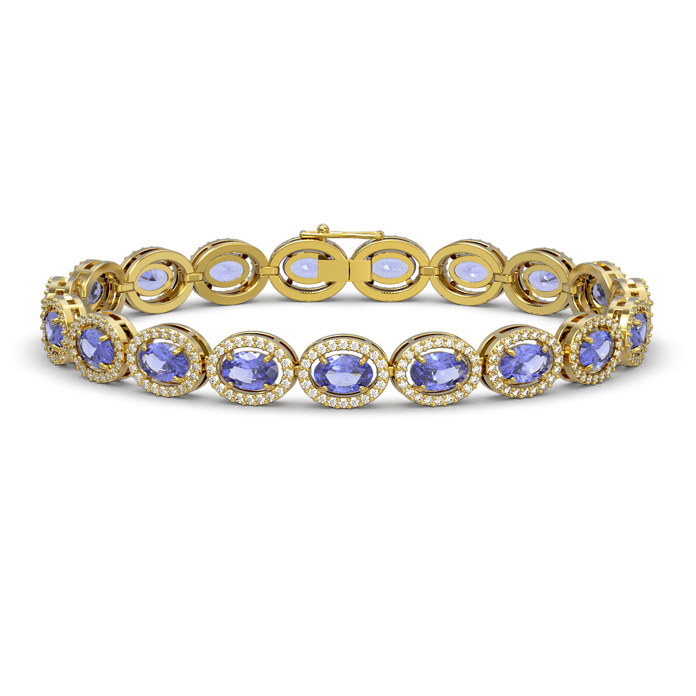 14.25 Ctw Tanzanite & Diamond Bracelet Yellow Gold