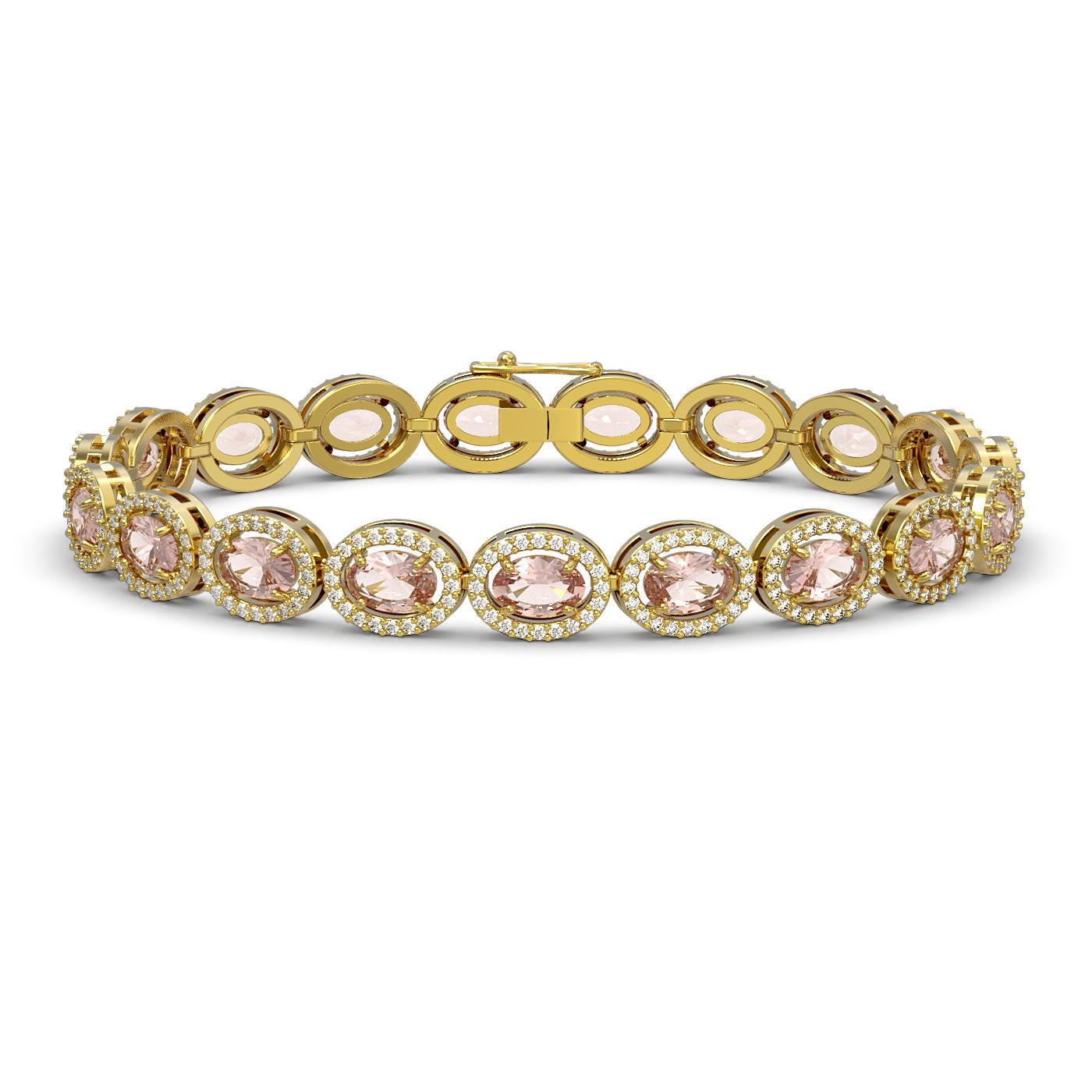 14.25 Ctw Morganite & Diamond Bracelet Yellow Gold