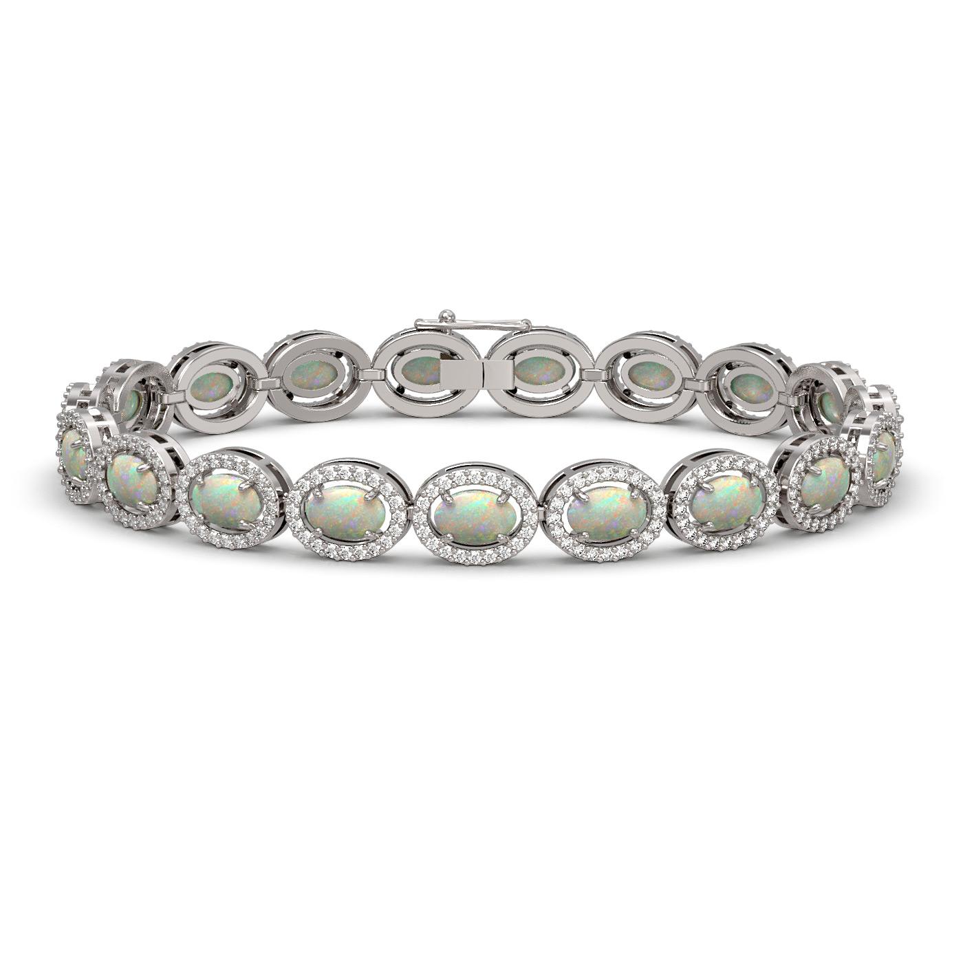 9.5 Ctw Opal & Diamond Bracelet White Gold