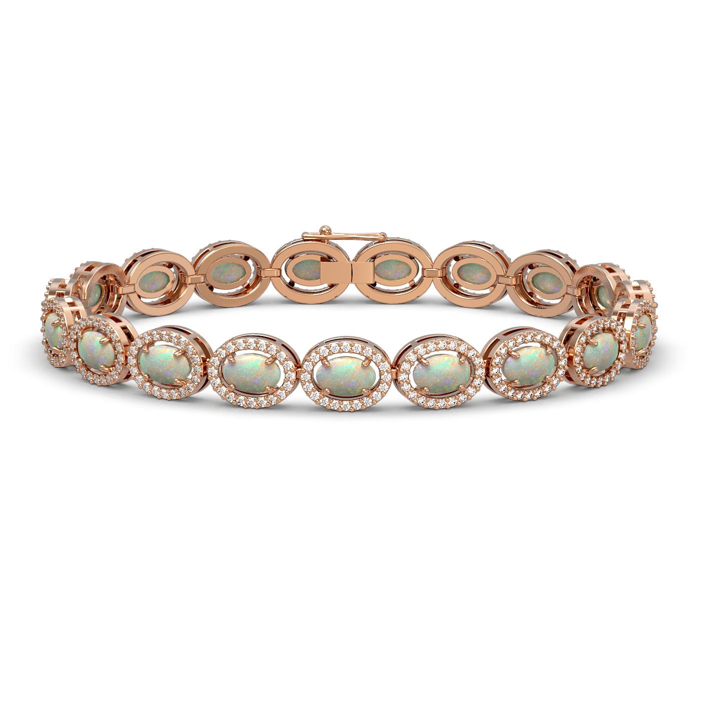 9.5 Ctw Opal & Diamond Bracelet Rose Gold