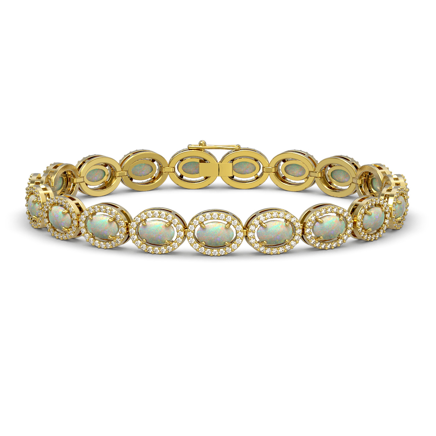 9.5 Ctw Opal & Diamond Bracelet Yellow Gold