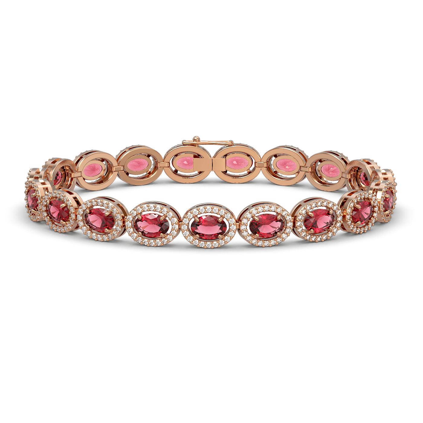 13.87 Ctw Tourmaline & Diamond Bracelet Rose Gold