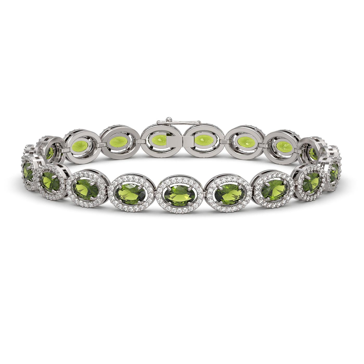 13.87 Ctw Tourmaline & Diamond Bracelet White Gold