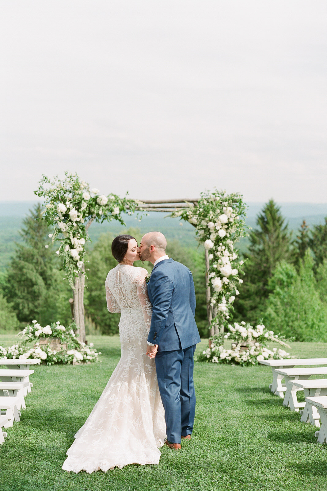 Cedar Lakes Estate, Port Jervis, New York rustic white and green ceremony arch