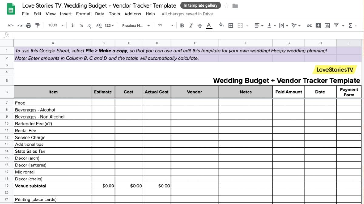 Get a Real Bride's Wedding Budget and Vendor Tracker Spreadsheet
