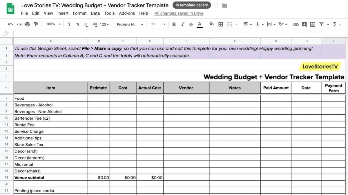 Get a Real Bride's Wedding Budget and Vendor Tracker Spreadsheet