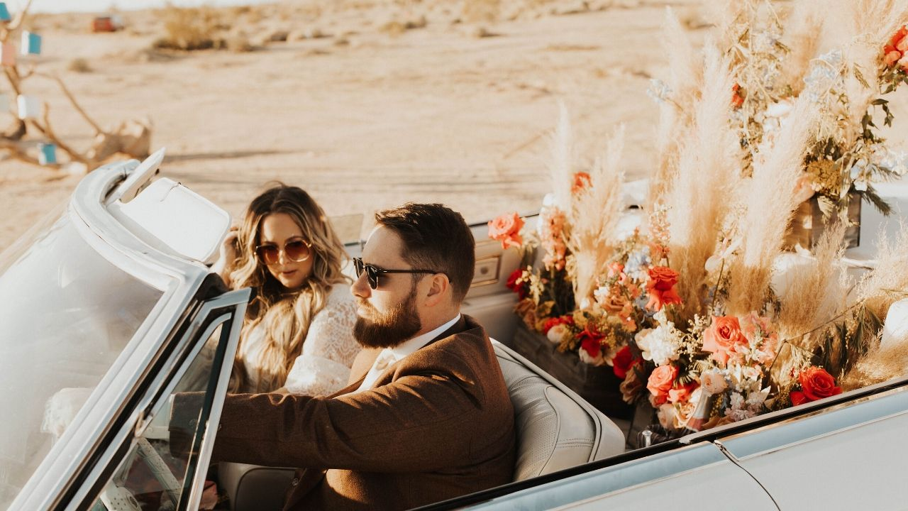 This Couple Took a Road Trip to Their Colorful, Disco-Themed California Elopement