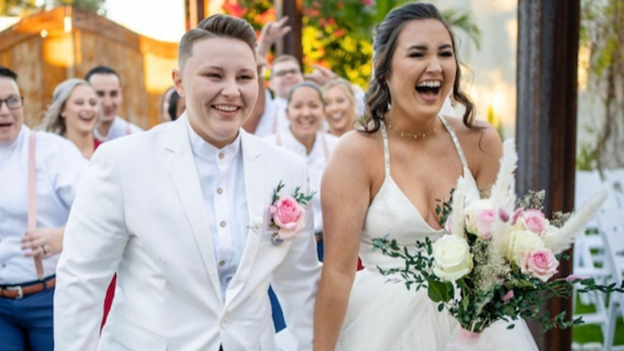 These Brides Exchanged Emotional Letters During Their First Touch in Colorful, DIY Florida Wedding